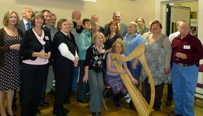 Some of the overseas delegates who attended the Route Back Home family history conference in Ballymoney, 1 & 2 October. Harpist, Sandra Kirk, provided entertainment throughout the reception. Photograph courtesy of Rusty Givens.